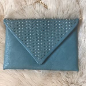 Urban Expressions Teal Studded Clutch